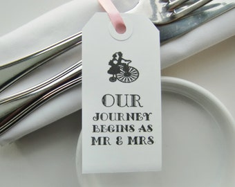 OUR JOURNEY BEGINS-Wedding Table Decor-Wedding Napkin Ties-Elegant White Tags with Ribbon-Unique Wedding Favors-Wedding Favours-Weddings