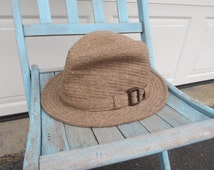 Vintage men's tan fedora, buckle detail, soft and warm, Size 7 1/2