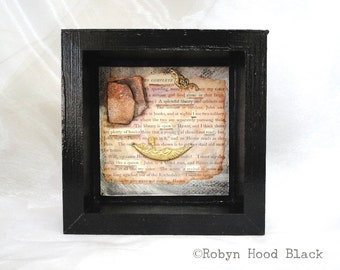 Mixed Media Vintage Text Found Poem Complete - Alone in a Splendid Library Framed to 6X6