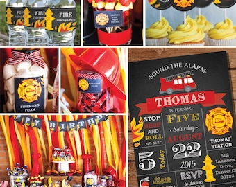 Fireman Party Decorations - Firefighter Birthday Party Decor - Instant Download and Edit File at home with Adobe Reader