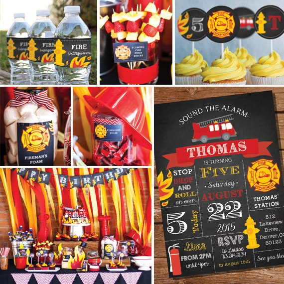 Firefighter Wedding Themes Ideas: Fireman Party Decorations Firefighter Birthday Party Decor