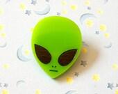Rad 90s Acrylic Alien Pin, Neon Green Alien Head Brooch Pinback
