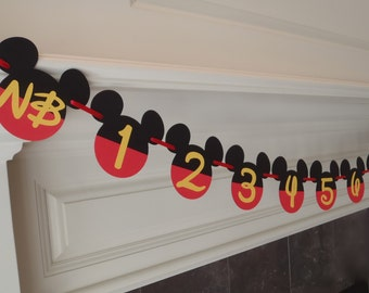 Mickey Mouse 1st Birthday Party Decorations Photo Banner First Year Birthday by FeistyFarmersWife