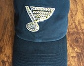 St. Louis Blues Hat Navy With Diamond Bling