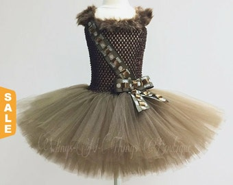 WOOKIE HALLOWEEN COSTUME, Tutu Dress, Girls, Toddler, Kids, Brown Fur, Ammo Belt, Child, Children, Chewbacca, Ewok, Chewy