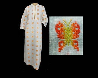 Butterfly Caftan Vintage 70s Maxi Dress Lounge Wear Lace Edged Long Sleeves