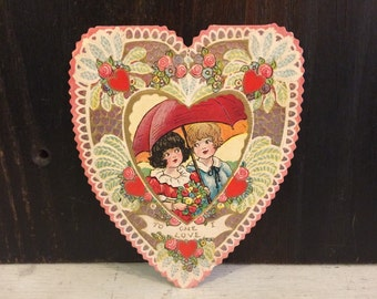 Beautiful Vintage Valentine's Day Card, 1920s 1930s, Large Heart Shaped, Boy Girl Children w Umbrella, Embossed, Ornate, Die Cut