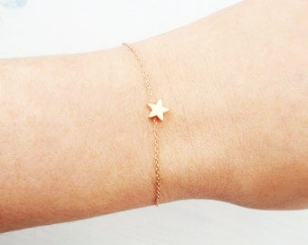 Choose rose gold or silver or gold star bracelet. Rose gold star bracelet. Dainty star bracelet