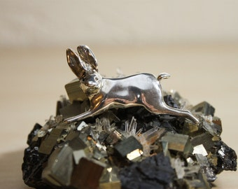 Sterling Silver Hopping Bunny Rabbit On The Run Pin by Roger Nichols