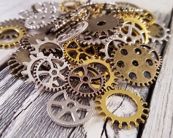 Mixed Steampunk Gears Pendant Charm Grab Bag Mystery Lot
