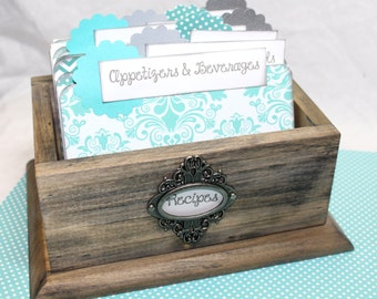 Recipe Box, Rustic Recipe Box, Barnwod Box, Modern Rustic, Aqua and Teal Recipe Dividers, Bridal Shower, Blue and Gray Dividers, Shabby Chic