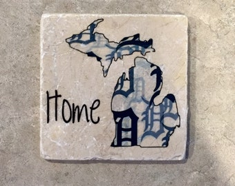 Set of 4 tumbled tile coasters, Michigan Detroit Tigers Home