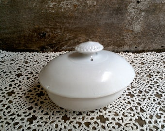 IRONSTONE COVERED DISH, White Ironstone Covered Soap or Butter Dish, John Maddock and Sons, Staffordshire Potteries, 1800's, England
