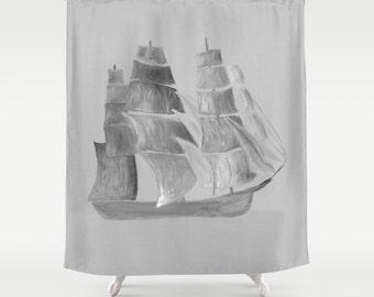 Nautical Ship Shower Curtain, grey shower curtain, nautical curtain, ocean shower curtain, ship shower curtain, nautical shower
