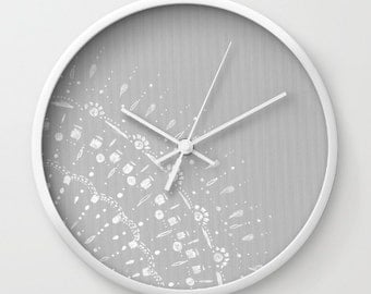 Grey Lace Wall Clock, grey wall clock, grey clock, modern clock, modern wall clock, gray wall clock, lace wall clock, minimal clock