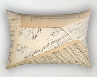 Vintage Music Rectangular Throw Pillow, music pillow, vintage music pillow, rectangular pillow, music gift, music home decor, lumbar pillow
