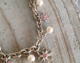 Silver pink charm bracelet