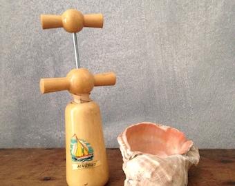 Wood kichen tool with nautical design-bottle opener