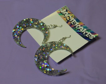 Holographic Crescent Moon Earrings - Kawaii Sailor Moon inspired