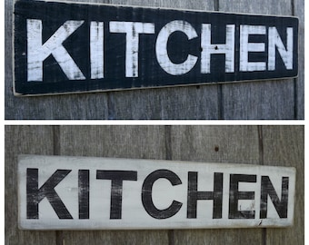 Wood Kitchen Sign Pallet Wood Sign Reclaimed Wood Sign Hand Painted Wood Sign