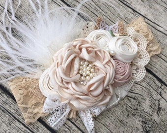 Vintage Flowers Headband  with Pearl Center