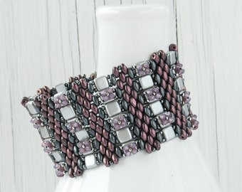 Purple and Gray Wide Cuff Bracelet with Swarovski Crystals and Antiqued Silver Box Clasp, Beadwoven Bracelet, Unique Statement Bracelet