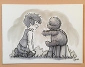 "Original, signed ""Wookiee the Chew"" drawing - ""Promise You'll Come Back?"" by James Hance"
