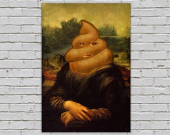 Poop Emoji Mona Lisa Humorous Wall Decor Art Print Giclee 8x10 11x14 16x20 18x24