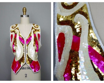 BRIGHT Neon Sequined Vest // Sequin Embellished Art Deco Vest