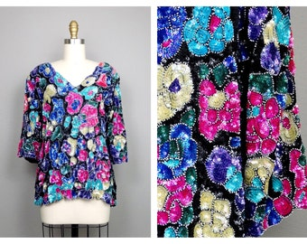 VTG Art Deco Sequined Beaded Floral Trophy Blouse by Joseph Le Bon XL