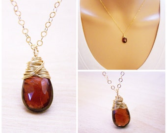 Garnet Gemstone Wire Wrapped Briolette Teardrop Necklace - January Birthstone - Garnet Necklace - 14k Gold Fill Necklace - Gift for Her