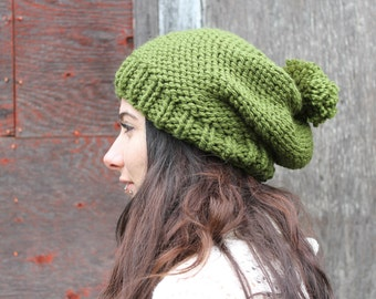 Evergreen Slouchy Knit Hat .  Chunky Pom Pom Hat . Handmade in Canada