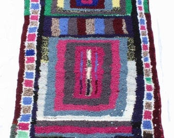 Vintage Moroccan Boucherouite Rug, 6ft 3 by 3ft 3