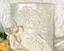 Wedding ivory lace Ring Pillow - Bearer Ring Pillow - Lace Wedding Ring Pillow - Satin Wedding Ring Pillow - Elegant Wedding Pillow