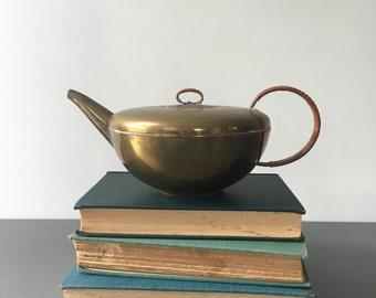 vintage brass teapot woven handle