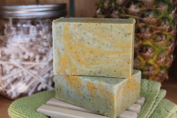 Organic Coconut & Hemp cold process soap Cucumber Wasbi Cilantro 5.3 ozs