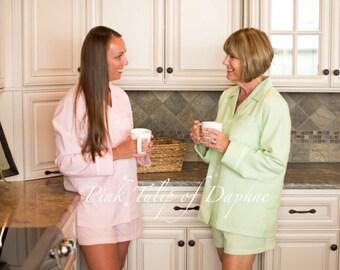 Short pj set, Shortie pajamas, Womens seersucker pajamas, Seersucker pjs, Pajama set, Monogrammed pjs, Classic styled pjs
