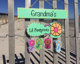 Personalized grandmother beach flip flop sign