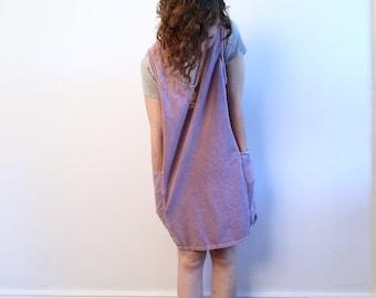 VINTAGE Lavender Denim Smock Jumper // Overalls Mini Dress