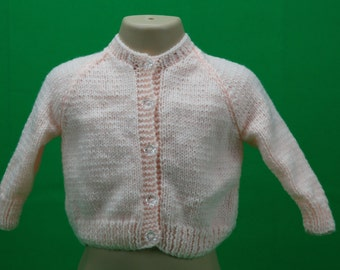 Soft Baby Pink Handknitted Girls Cardigan for a 2-3 year old