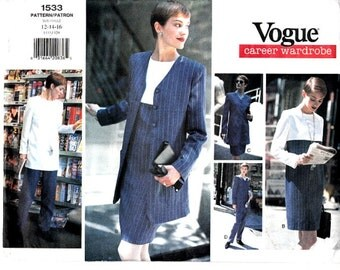 Easy to Sew Vintage 90's Vogue 1533 Sewing Pattern Loose Fit Empire Waist Dress Size 12 14 16 Jacket Tunic Pants Skirt Scarf Uncut FFolds