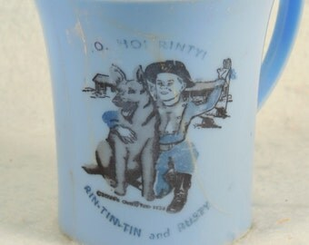 "Vintage-Rin-Tin-Tin-And Rusty-Childs Blue Plastic Cup-3"" Tall-3"" Across The Top"