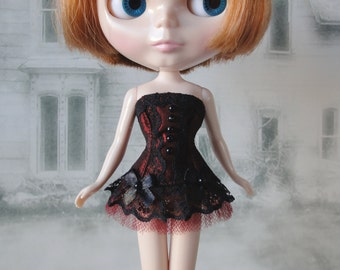 Gothic burlesque burgundy and black corset hand made fits Blythe doll