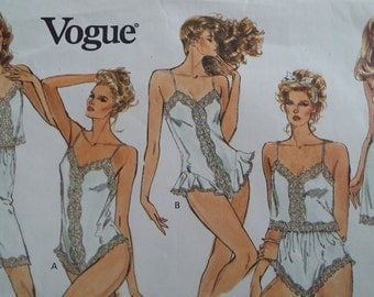 Vintage Vogue 2146 Sewing Pattern Size Extra Small, Small, and Medium Camisole, Half Zlip, Panties, and Teddya