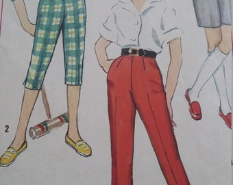Vintage Simplicity 3493 Sewing Pattern Size 12 Waist 25 Shorts, Jamaicas, Pedal Pushers and Pants