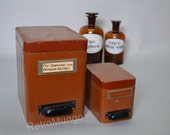 Reserved ---  Set of two old original wood / paper apothecary / pharmacy  storage boxes