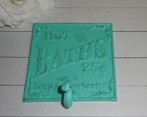 SALE AQUA / Cast Iron / Bath Wall Hook/ / Bath Towel Rack/ Robe Hook/ Shabby chic/ Bathroom Fixture /Beach Cottage /