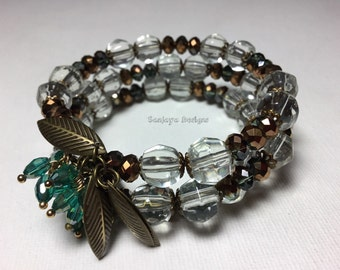 Crystal anb glass Beabeb multi tiered bracelet