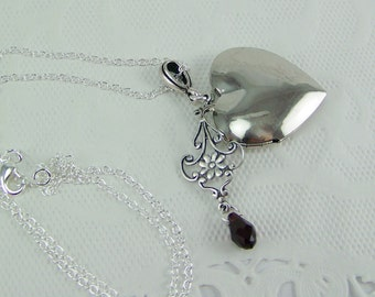 Heart Locket, Silver Heart Locket, Filigree Locket, Keepsake Locket, Heart Necklace, Photo Locket, Silver Heart, Dangle Locket, Ruby Locket