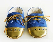Baby Boy Toddler Shoes Royal Blue Canvas with Brogued Gold Leather Soft Sole Shoes Oxford Wingtips Wing tips